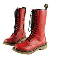 Wholesale Low White Cowboy Boots - 5 Colors Chic Top Cowskin 14 holes Martin boots genuine leather durable middle boots