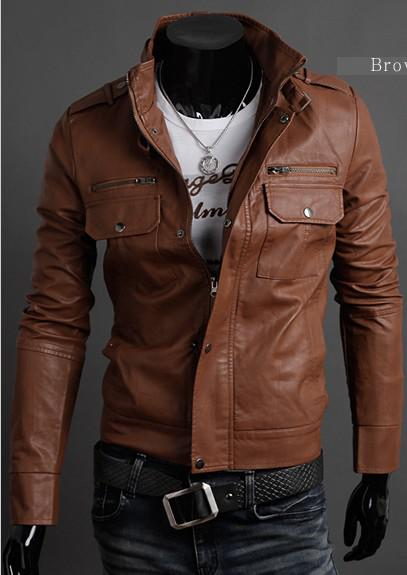 Hot Leather Multi Zipper Design Men Motorcycle Leather Handsome ...