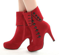 Wholesale Sexy Cheap High Heels Boots - Sexy Elegant Cheap Womens Boots With Button Add Plush Inside Adorable High Heels Boots Red Black