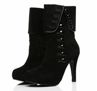 Wholesale Womens High Heel Motorcycle Boots - On Sale Christmas Sexy Womens Boots With Button Add Plush Inside Adorable High Heels Boots Red Black
