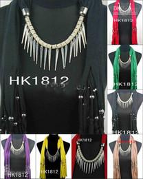 Wholesale Scarf Pendant Necklace Jewellery - Fashion Scarf jewelry necklace 2012 Hot pendants scarves charming charm Jewellery Mix Colors 12pcs b