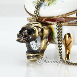 Wholesale Skull Watch Necklace - skull Brass bronze antique style skull pocket watch pendant long chain necklaces for men and women