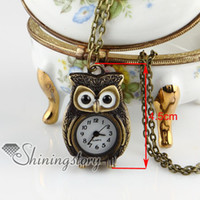 Wholesale Owl Watch Pendant Wholesale - night owl necklace pocket watch ladies pendant watches Hand made jewelry