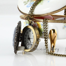Wholesale Vintage Cameo Necklaces - flower cameo vintage style pocket watch mens pocket watch with chain Cheap fashion jewelry