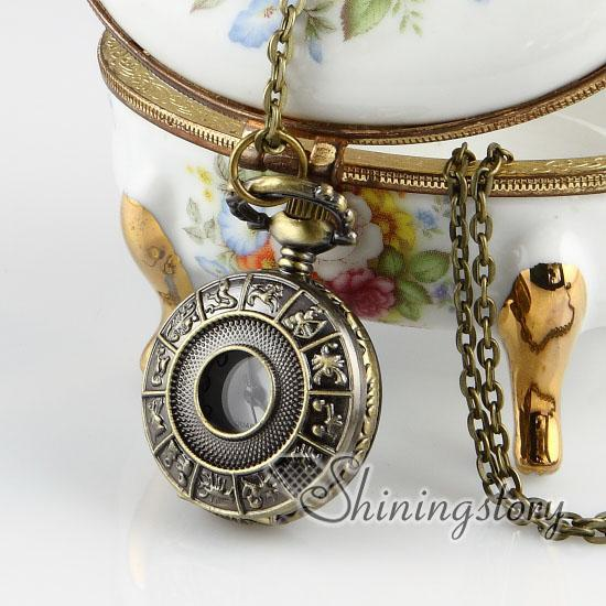 Constellations Brass bronze copper antique styleConstellations astrology pocket watch pendant long chain necklaces