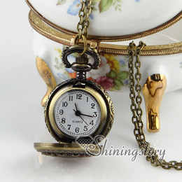 Wholesale Watches Necklaces Cheap - round openwork vintage style pocket watches pocket watch pendant cheap necklace