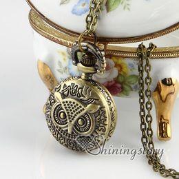 Wholesale Pocket Watch Vintage Owl - night owl pocket watches vintage style pendant pocket watch Fashion jewelry necklace