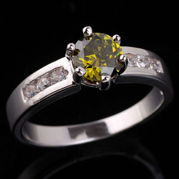Wholesale Peridot 925 Ring - Lady Nal Simulated Wedding Round Green Peridot Genuine 925 Sterling Silver Ring R034