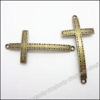 Wholesale bronze cross jewelry resale online - Vintage Charm Cross Pendant Antique bronze Alloy Fit Bracelet DIY Metal Jewelry