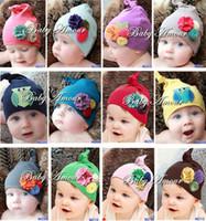 neugeborene schädelmütze großhandel-Babymützen Beanie catoon Jungen 'Skull Cap Blume Newborn Hut Mädchen Chapeau Dicer 12styles ZK13