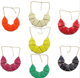 Wholesale triangle gem - New In Fashion Lovely Golden Metal Olong geometry Triangle Resin Gem Choker Necklace 7pcs lot