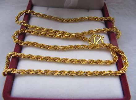 2018 pure 24k yellow gold necklace rope chain mens heavy chain pure 24k yellow gold necklace rope chain mens heavy chain 229g 48cml sciox Gallery