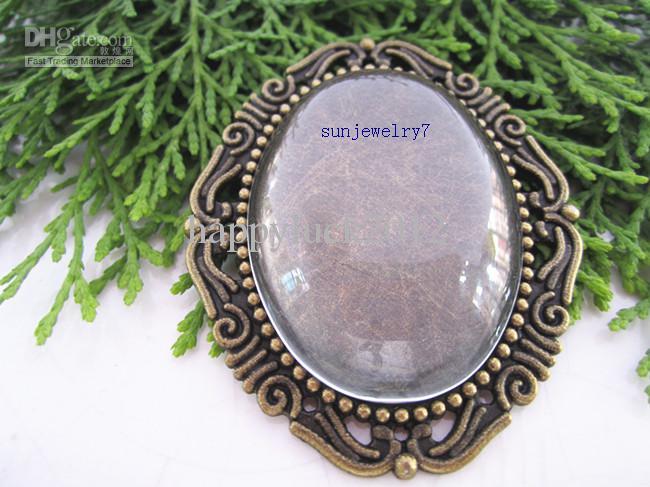 30mmx40mm Antike Bronze und antike silberne ovale hängende Behälter mit Glascabochons 20set / lot