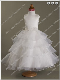 Ceintures Organza Pas Cher-Lovely Ball Gown belt Square Tea-length Satin Organza Flower Girl Dress Fille Forme Occasion