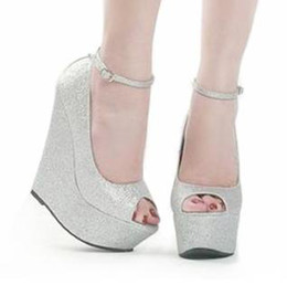 Wholesale Spring Color Wedge Heels - Wedding Bride Silver Sparkly Glitter Prom Super High Ankle Strap Wedge Heel Sandals Size 34 - 40 41