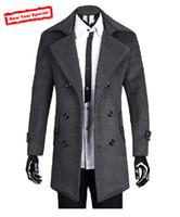 Wholesale Men Fashion Wool Coats - 2016 fashion men cashmere wool coat jackets Outerwear Winter windproof wool coats plus size slim fit thickening male coat free shipping