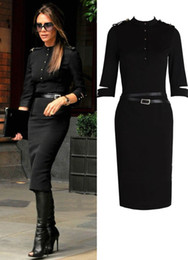 Wholesale Ladies Cotton Office Wears - Fashion office lady long sleeve Military uniform slim dresses big discount