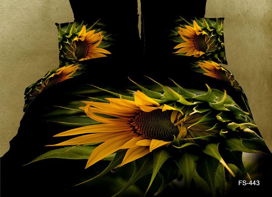 Sunflower Black 3d Printed Duvet Cover Set Queen Size