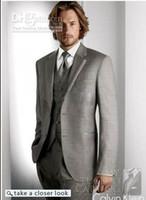 Wholesale Men Satin Waistcoat - High Quality Grey Men Suit Men Complete Customer Made Tuxedo Bridegroom (jacket+pant+tie+waistcoat)