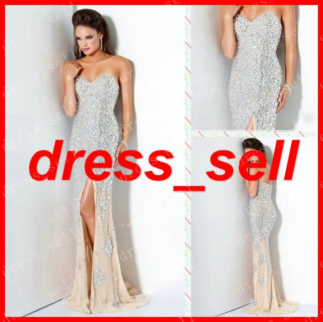 Bling Sweetheart Prom Dresses Gown Party Evening Rhinestone Crystals ...