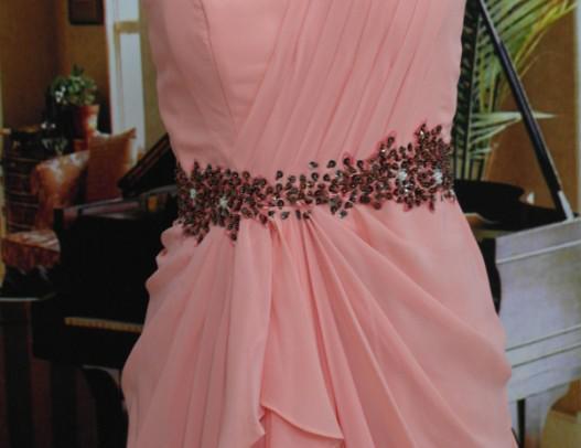 Große Rabatt Sexy Mode Brautjungfer Kleider Eine Schulter Bodenlangen Perlen Chiffon Abendkleid mit Schärpe