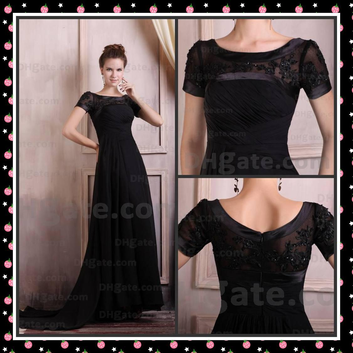 Long black dresses with short sleeves