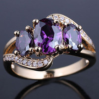 anéis de pedra de ametista venda por atacado-New 3-stone Ametista Roxo de Ouro Preenchido Mulheres Moda Prongs Tamanho do Anel 7 GF J7523
