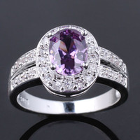 Wholesale Purple Oval Silver Ring - Women CZ Nal Simulated Oval Cut Purple Amethyst Genuine 925 Sterling Silver Ring R013