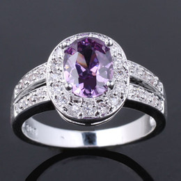 Wholesale Purple Sterling Silver Ring - Women CZ Nal Simulated Oval Cut Purple Amethyst Genuine 925 Sterling Silver Ring R013