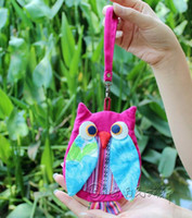 Wholesale Kids Backpacks Skulls - Girls Owl Bags Girls Cotton Phone Bags children' Bag Money Backpack kids school bags L*W = 15*11CM