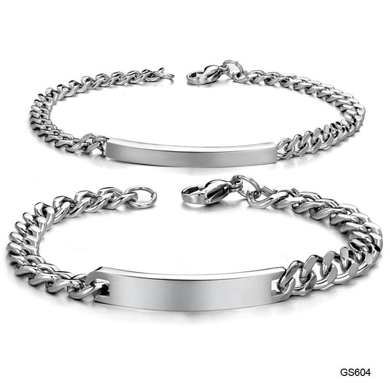 2019 Stainless Steel Chain Bracelet For Lovers Couples Plate Chain
