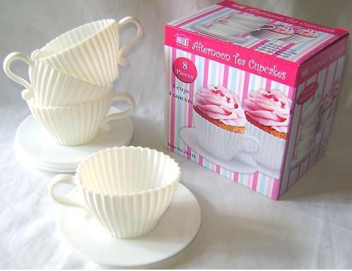4 шт. = 1 коробка Чашки Силикона Кекс Формы Выпечки Веселые Вечеринки Торты Маффин Плесень 4 Чашки 4 Блюдца в штучной упаковке