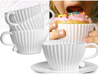 Wholesale Tea Cups Saucers Wholesale - 4pcs=1box Tea Cup Silicone Cupcake Moulds Baking Fun Party Cakes Muffin Mould 4 Cup 4 Saucers Boxed