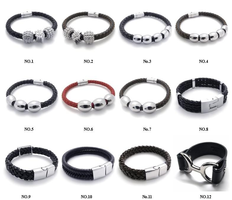 mix order new good quality jewelry mens cuff bangle Stainless steel ball leather braided bracelet