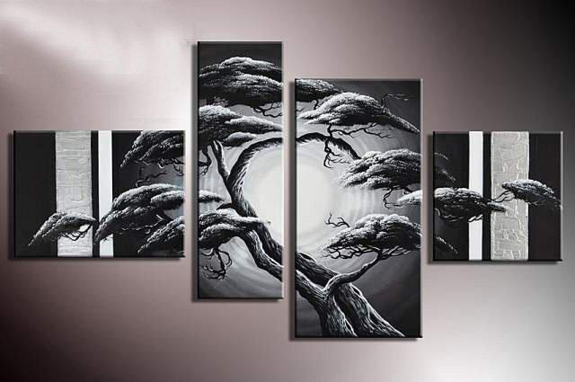 framed 4 panels 100 handpainted large black and white tree painting