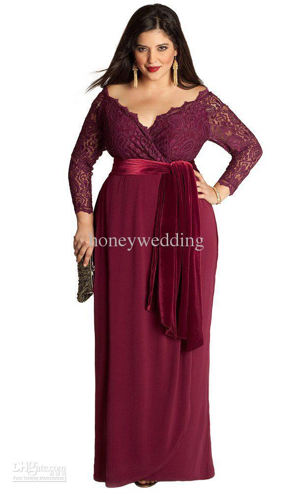 2015 nova elegante manga comprida vestidos de baile decote em v plus size  mãe off vestidos de noiva para festa de casamento das mulheres lace formal  ... bdb3d3a8b88a