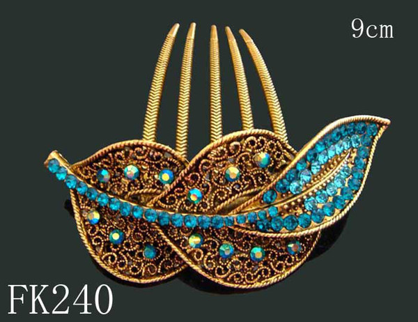Wholesale Vintage Hair Jewelry Women Zinc alloy rhinestone hair combs Hair Accessories Free shipping 12pcs lot mixed color FK240