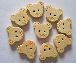 Wholesale Cartoon Clothes Button - Natural wooden buttons cartoon bear children clothing accessories and DIY supplies Free Shipping