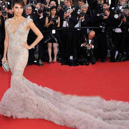 Wholesale Cannes Celebrity - Nice Eva Longoria Appliqued and Ruffled Tulle Celebrity Crystals Party Evening Gown CBD040