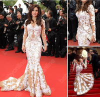 Wholesale Cannes Royal Blue - 2016 Sexy najwa karam in cannes Evening dresses Long sleeves White Lace Sheer Long Sleeves Mermaid Celebrity Dresses Red Carpet Dresses