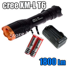 Wholesale Latern Wholesale - 1800 Lumen Zoomable CREE XML XM-L T6 Focus Flashlight Latern Lamp light +2 18650 battery+Charger