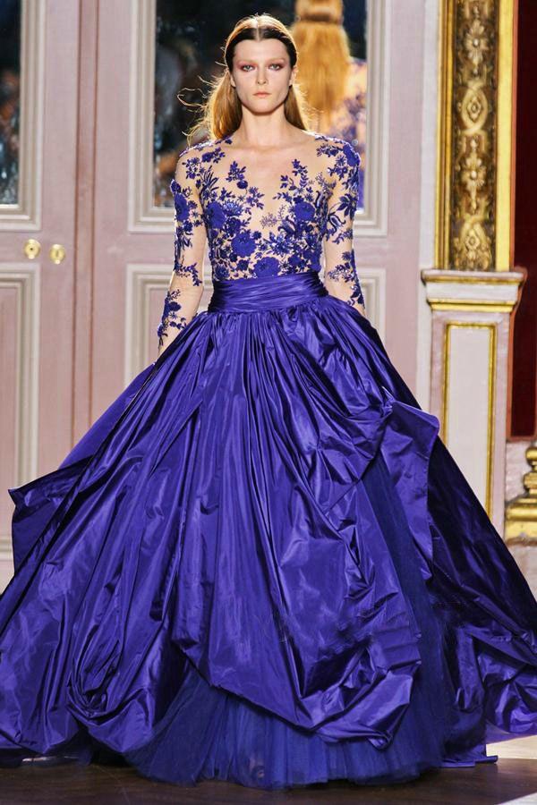Königsblau V-Ausschnitt Taft Spitze Designer Applique Zuhair Abendkleid ZH063