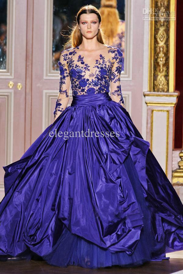 Royal Blue V-hals Taffeta Lace Designer Applique Zuhair Avondjurk ZH063