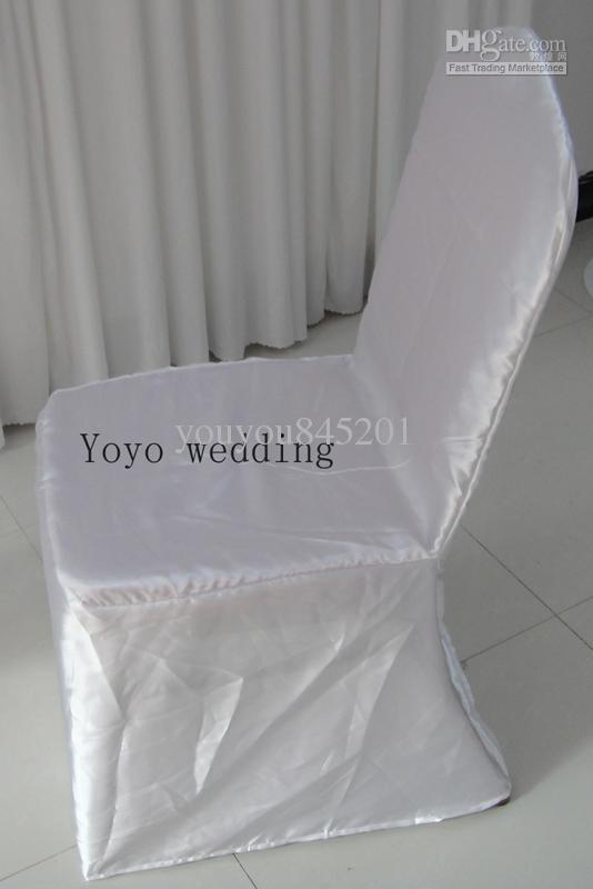 Weiße Farbe Runde Top Bankett Satin Stuhlabdeckung 100 STÜCKE Viel Für Hochzeit, Party, Hotel Dekoration verwenden
