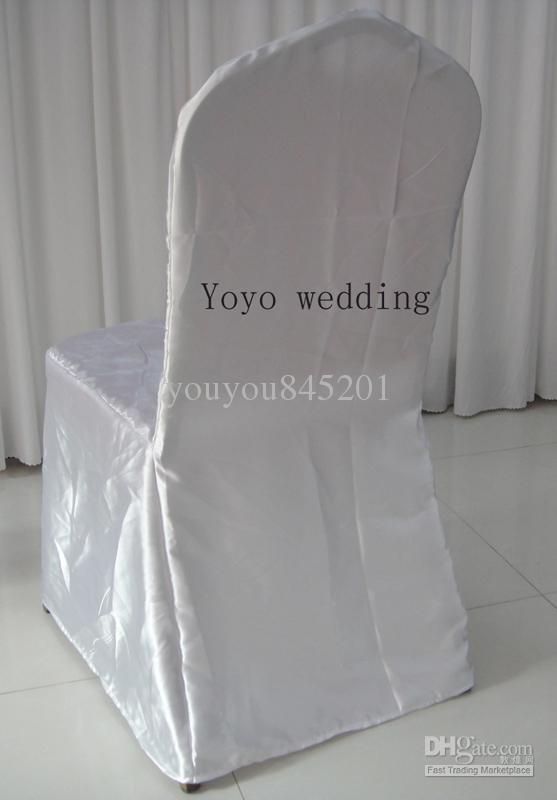 Vit Färg Runda Topp Bankett Satin Chair Cover Mycket för bröllop, fest, hotelldekoration