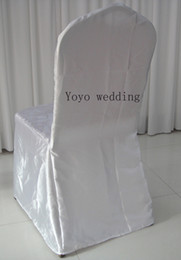 Wholesale Chair Top Covers - White Color Round Top Banquet Satin Chair Cover 100PCS A Lot For Wedding,Party,Hotel Decoration Use