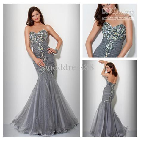 Gray Sweetheart Stone Mermaid Prom Dresses Evening Gowns Party ...