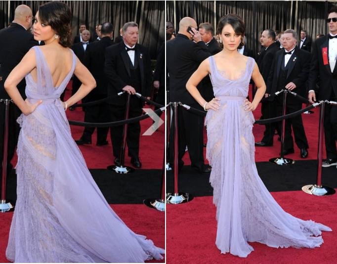 Mila Kunis Best Dress At The Oscars Red Carpet Lavender Lace Chiffon ...