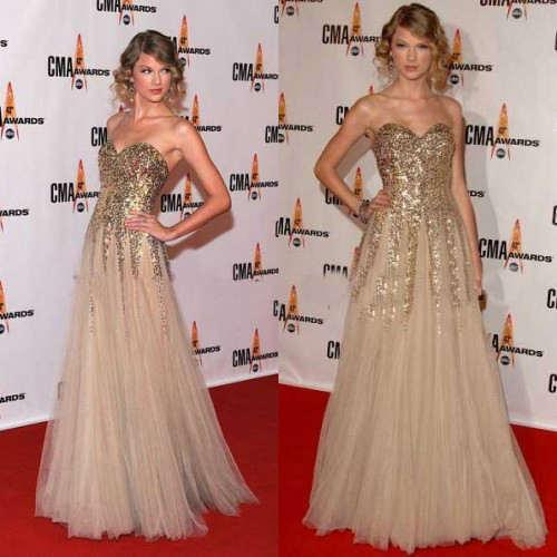 Taylor Swift Gold Dress