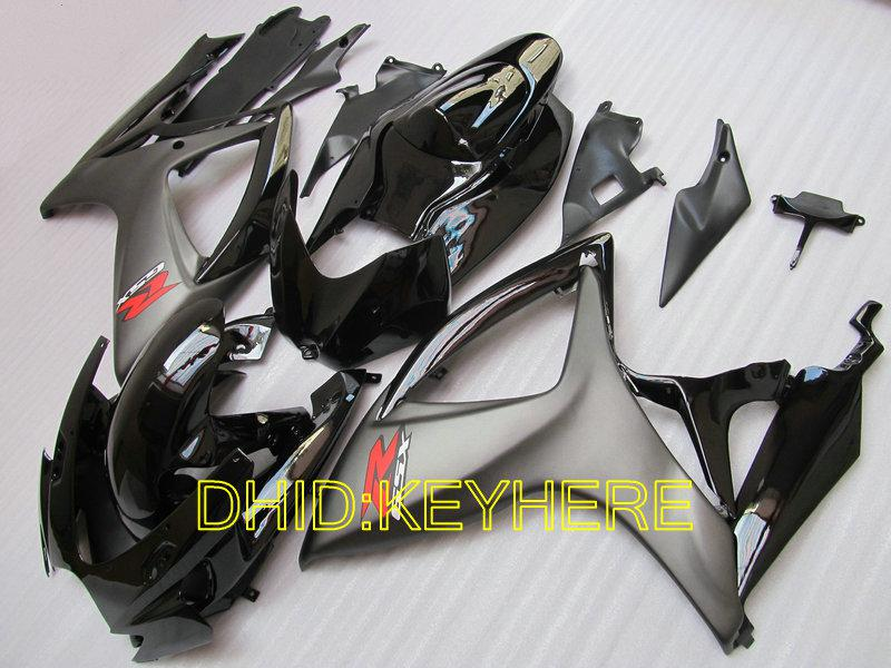 Glansig / Matt Blk Custom Fairing Kit för Suzuki 2006 2007 GSXR 600/750 K6 06 07 GSX-R600 R750 BodyKits